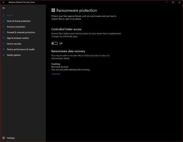 Utilice OneDrive y Windows Defender para recuperar los archivos afectados por Ransomware