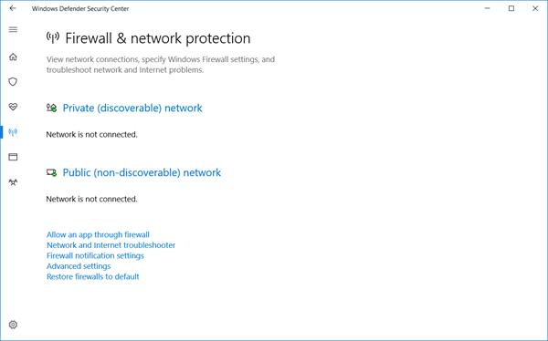 Centro de seguridad de Windows Defender en Windows 10 8