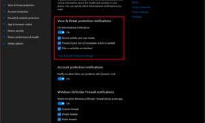 Desactivar notificaciones de resumen de Windows Defender en Windows 10