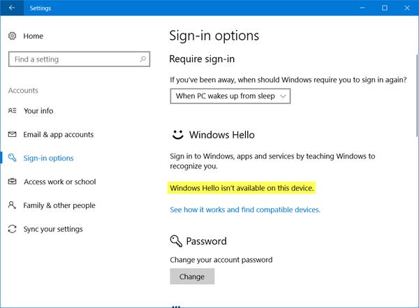 Windows Hello no está disponible en este dispositivo; solucione los problemas de Windows Hello 1