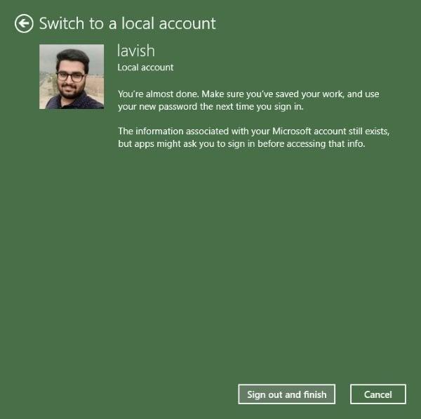 Cómo cambiar la cuenta de Microsoft a una cuenta local en Windows 10