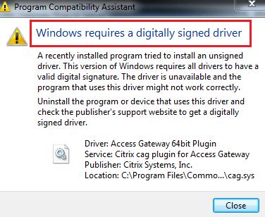 Windows requiere un controlador firmado digitalmente 1