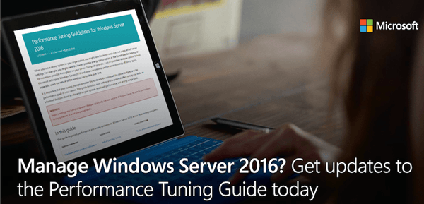 Consejos para ajustar el rendimiento de Windows Server 2016