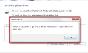 Windows no pudo obtener una lista de dispositivos de Windows Update