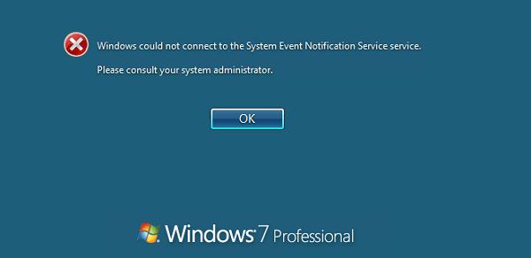Windows no pudo conectarse al Servicio de notificación de eventos del sistema 1
