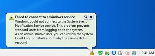Windows no pudo conectarse al Servicio de notificación de eventos del sistema 2