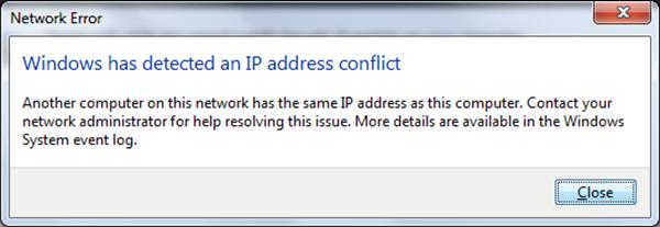 Windows ha detectado un conflicto de direcciones IP 1