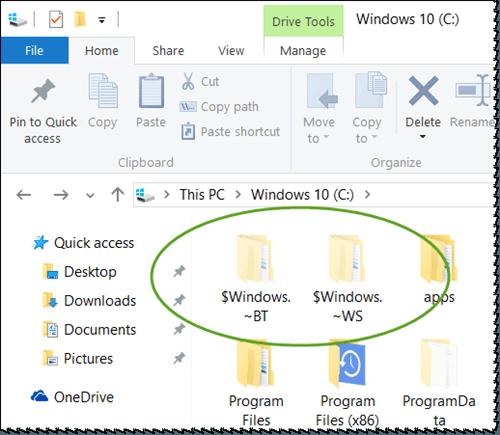 ¿Puedo eliminar las carpetas $Windows.~BT y $Windows.~WS después de la actualización a Windows 10? 2