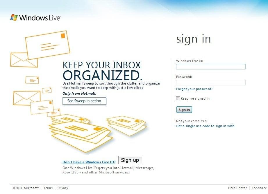 Nueva página de inicio de sesión para Windows Live - Modificada para mostrar características individuales