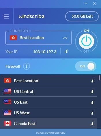 Windscribe VPN oculta su dirección IP para que no pueda ser rastreado.