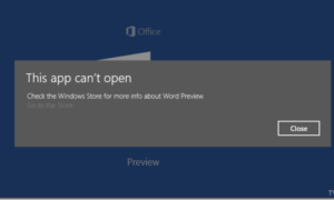Solución al error de la aplicación Vista previa de Office - Esta aplicación no se puede abrir