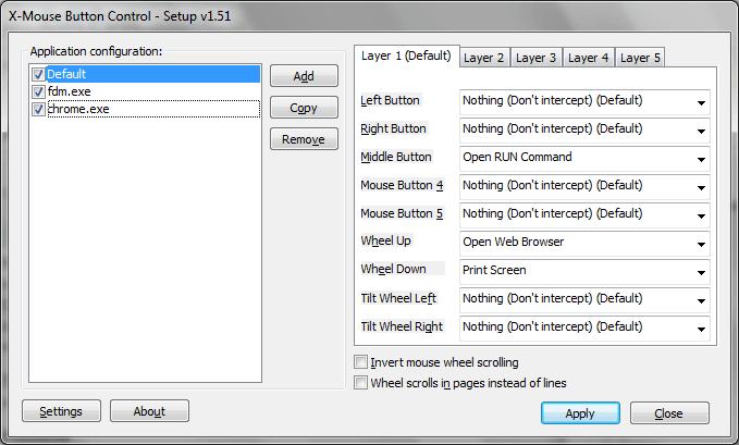 Adapte los botones del ratón de forma diferente para cada software con X-Mouse Button Control