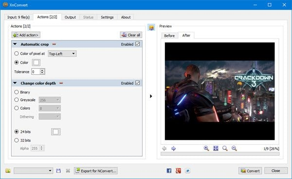 XnConvert es un conversor y redimensionador de imágenes masivo para Windows 10 2