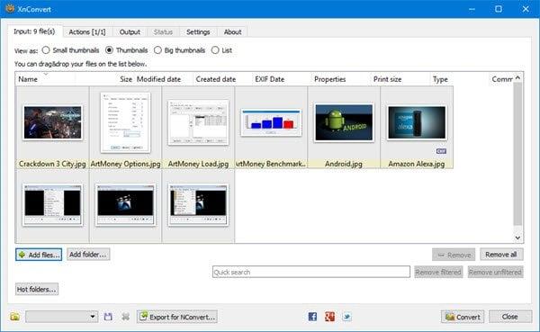 XnConvert es un conversor y redimensionador de imágenes masivo para Windows 10 1