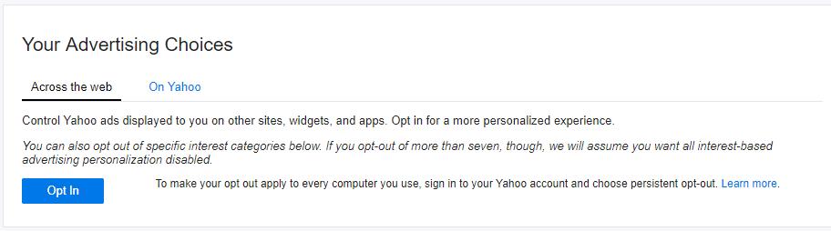 Impida que Yahoo escanee su correo electrónico y muestre anuncios personalizados