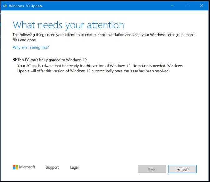 El equipo tiene hardware que no está preparado para esta versión de Windows 10.