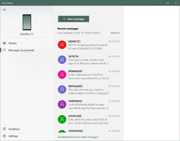Su aplicación de teléfono Replica el contenido del teléfono Android al PC con Windows 10 3