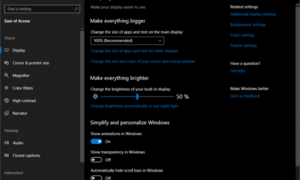 Nueva configuración de facilidad de acceso en Windows 10