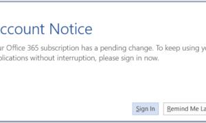 Cómo desactivar el mensaje Aviso sobre la cuenta en Office 365 for Business Plan
