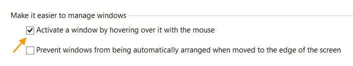 Activar una ventana pasando el ratón por encima de ella
