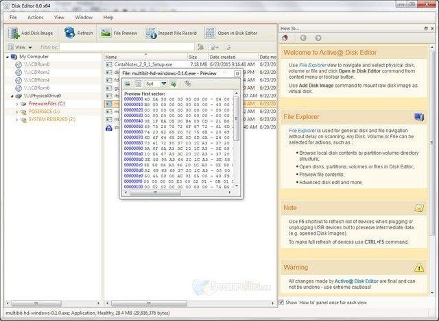 Edite datos sin procesar en particiones con el Editor de discos Active@.