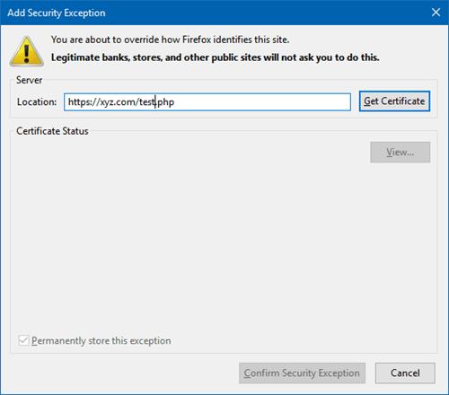 SEC_ERROR_UNKNOWN_ISSUER advertencia en el navegador Firefox