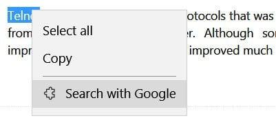 Añadir búsqueda con Google al menú contextual del navegador Edge con el botón derecho del ratón