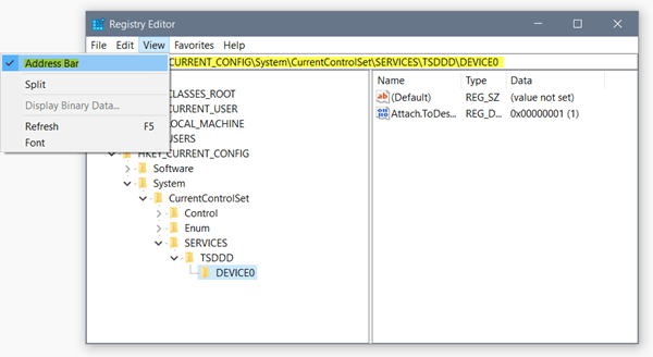 Barra de Direcciones, Cambiar Fuente y otras nuevas características en el Editor del Registro en Windows 10 1