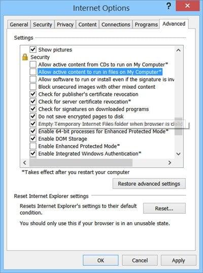 Desactivar el contenido activo en Internet Explorer en Windows 2
