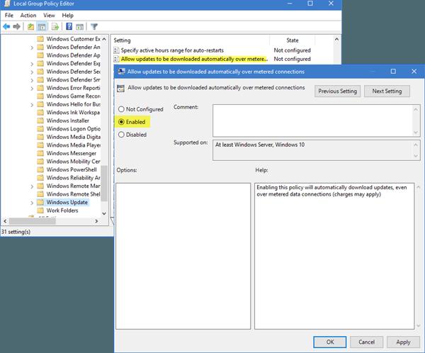 Permitir que las actualizaciones de Windows se descarguen automáticamente a través de Metered Connections