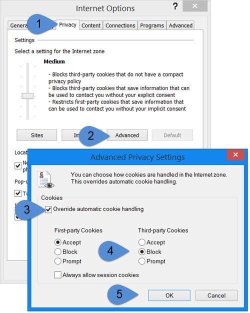 Bloquear o permitir cookies de terceros en IE, Chrome, Firefox, Opera 1