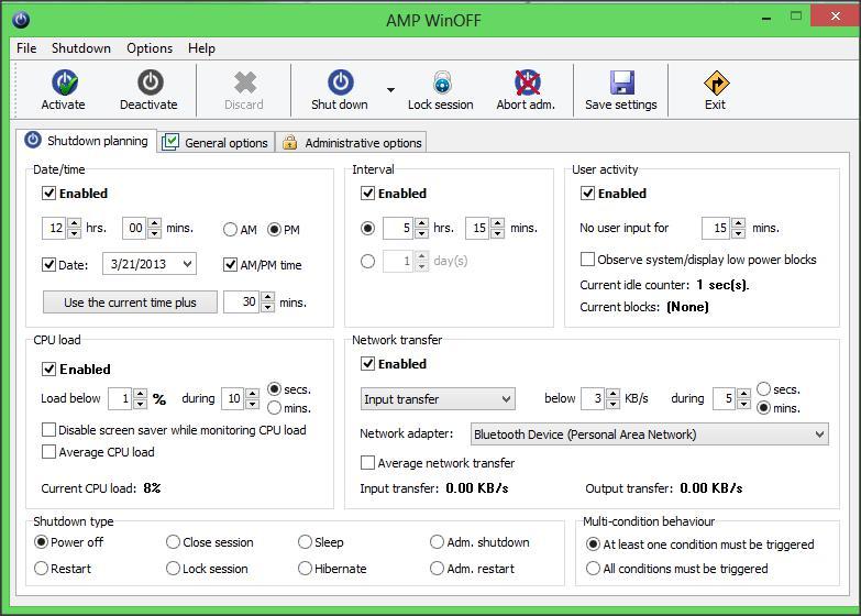 AMP WinOFF - Utilidad de Windows con varias opciones de apagado 1