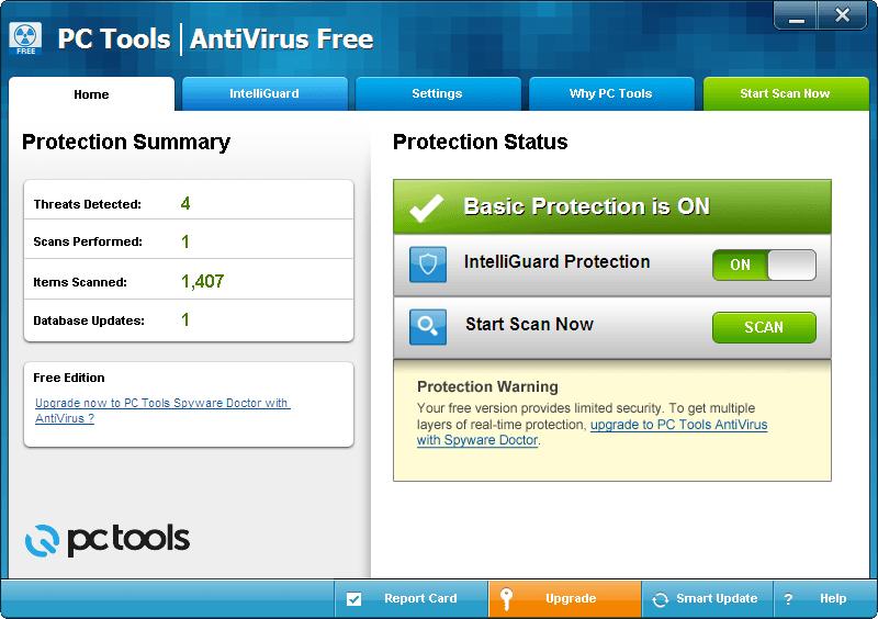 PC Tools Free Antivirus Software for Windows 1