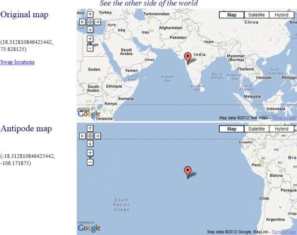 ¿Qué hay al otro lado de su ubicación en la Tierra?