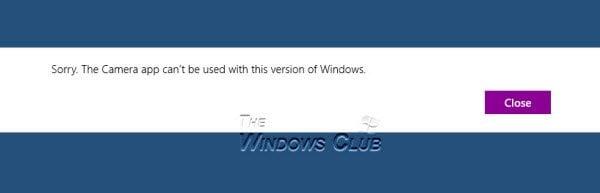 Corrección: La aplicación Camera no se puede usar con esta versión de Windows. 1