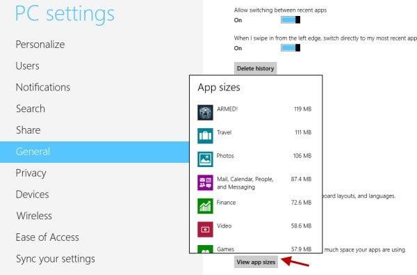 Windows 8.1 PC Settings ahora muestra el espacio en disco utilizado por las aplicaciones modernas, los medios de comunicación y los archivos de usuario.