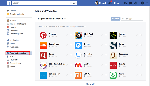 Elimina las aplicaciones de terceros en las que hayas utilizado Facebook para iniciar sesión. 1