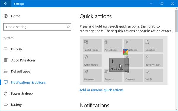 Agregar, quitar y organizar botones de acción rápida en Windows 10 4