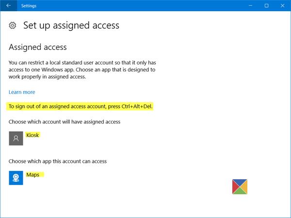 Configuración de Windows 10 en modo quiosco con acceso asignado