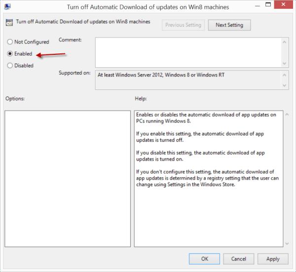 Desactivar o desactivar las actualizaciones automáticas de aplicaciones en Windows 8.1