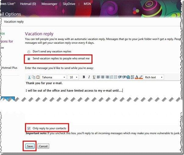 Cómo configurar la Respuesta Automática de Vacaciones en Hotmail