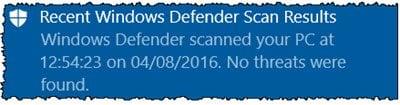 Función de exploración periódica limitada en Windows Defender en Windows 10 5