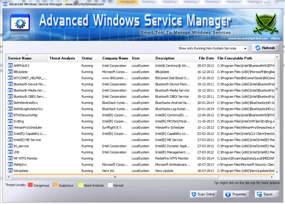 Administrador avanzado de servicios de Windows: Un analizador de servicios Windows más inteligente