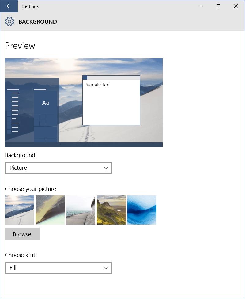 Configuración de personalización en Windows 10 2
