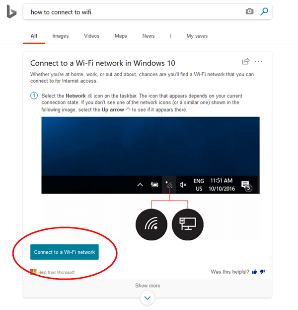 Cómo ayuda Bing Search a responder directamente a las consultas de Windows 10 4