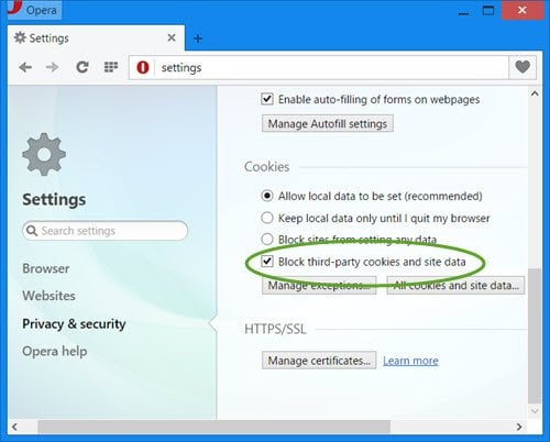 Bloquear o permitir cookies de terceros en IE, Chrome, Firefox, Opera