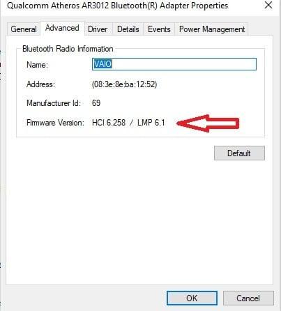 Cómo comprobar la versión del Adaptador Bluetooth en Windows 10 2