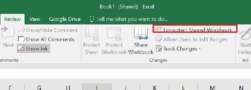 Cómo detener o desactivar el uso compartido de libros de trabajo en Excel 2016 2