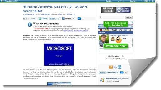 Traduzca páginas web al instante con Microsoft Translator Bookmarklet