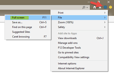 Cómo abrir y ejecutar Chrome, Firefox, IE, Microsoft Edge en modo de pantalla completa